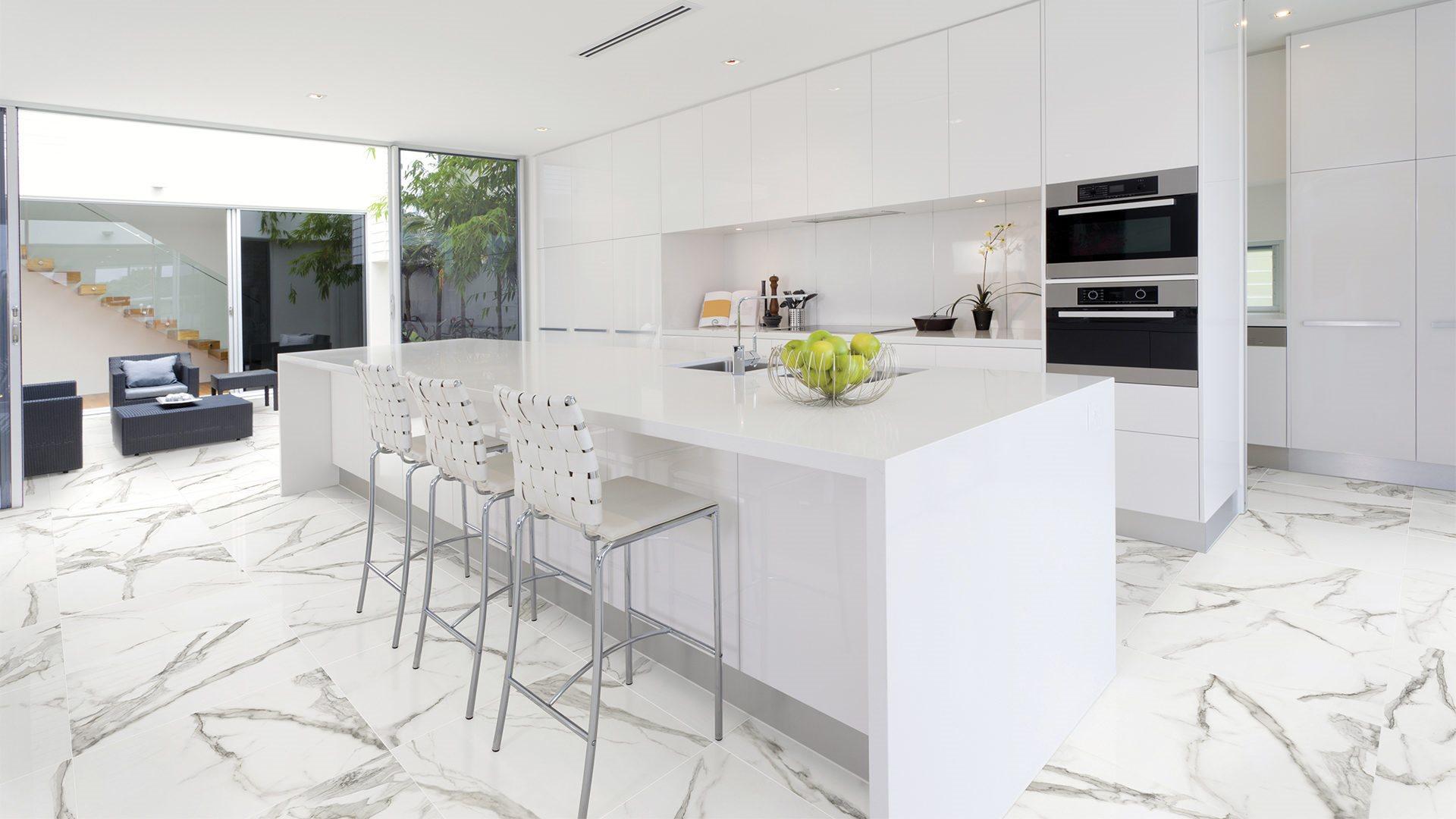 tuile imitation marbre cuisine serie Statuario